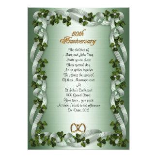 50th anniversary vow renewal Irish shamrocks Invitations