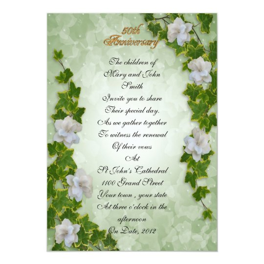 50th anniversary vow renewal ivy and gardenias flo card