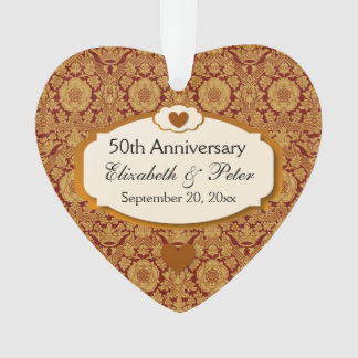 50th Anniversary Wedding Anniversary Gold Damask Ornament