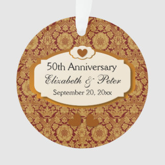 50th Anniversary Wedding Anniversary Gold Damask Ornament