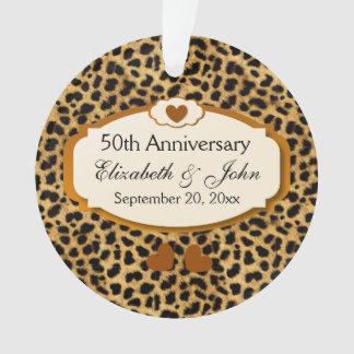 50th Anniversary Wedding Anniversary Gold Leopard Ornament