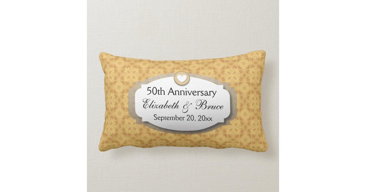 50th Wedding Anniversary Gift Pillows: 50th Anniversary Wedding Anniversary Gold Z05 Lumbar