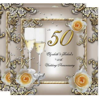 50th Anniversary Wedding  Cream Gold Rose Silver Invitation