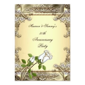 50th Anniversary Wedding Cream Rose Gold 4.5x6.25 Paper Invitation Card