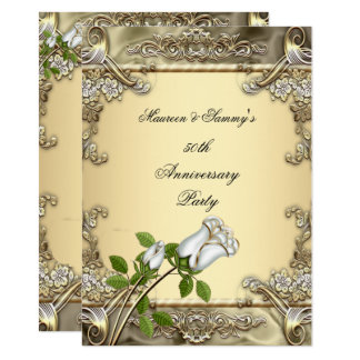 50th Anniversary Wedding Cream Rose Gold Card