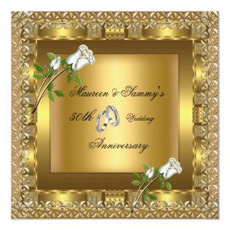50th Anniversary Wedding Gold Elegant Personalized Invites