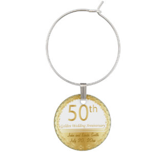 50th Anniversary Wedding   Personalize Wine Glass Charms