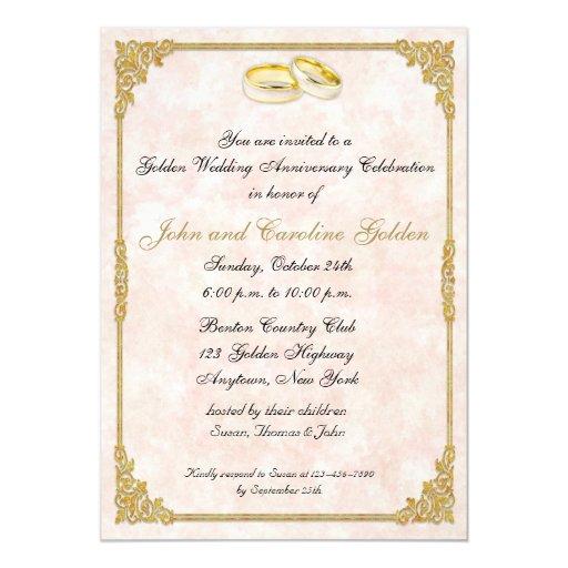 50th anniversary wedding rings invitation zazzle for Pictures of wedding rings for invitations
