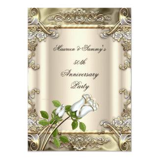 50th Anniversary Wedding Rose Gold Beige 4.5x6.25 Paper Invitation Card