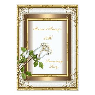 50th Anniversary Wedding White Rose Gold Elegant 2 Custom Invites