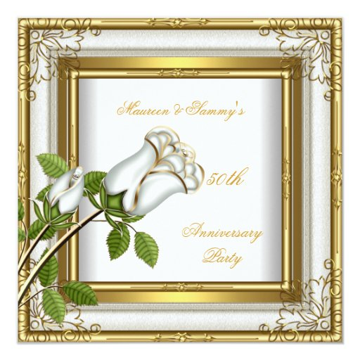 Golden Wedding Anniversary Gift Experiences : 50th Anniversary Wedding White Rose Gold Elegant Card Zazzle