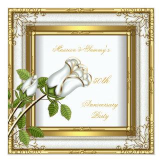 50th Anniversary Wedding White Rose Gold Elegant Announcement