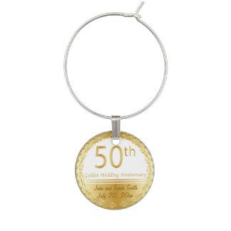 50th Anniversary Wedding Wine Glass Charms