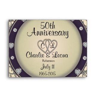 50th Anniversary with Diamond Heart Look Envelope