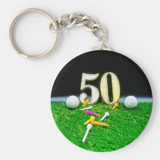 50th Anniversary with golf ball and tee on green Keychain