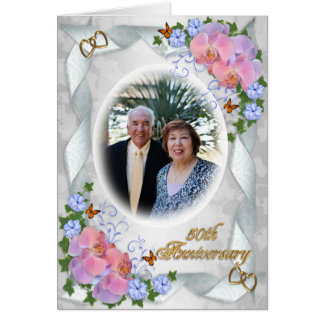 50th Anniversary with photo invitation orchids Greeting Card