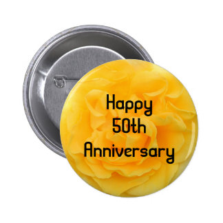 50th Anniversary Yellow Rose Button Pin Brooch