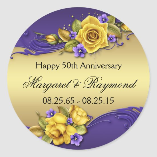50th Anniversary Yellow Roses Purple Pansies Classic Round Sticker