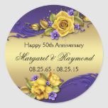 50th Anniversary Yellow Roses Purple Pansies Stickers