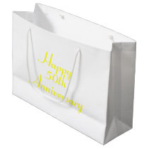 50th Anniversary Yellow Text Template Gift Bag