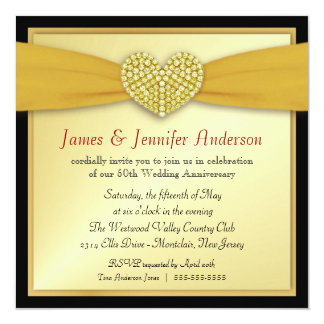 50th Annniversary Party Elegant Heart Invitations