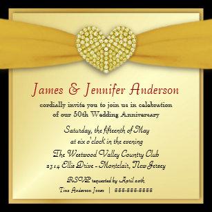 gold heart elegant 50th anniversary wedding invitations zazzle