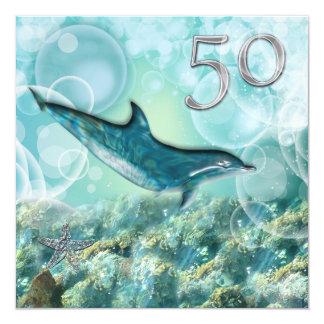 50th beach tropical birthday party invitations