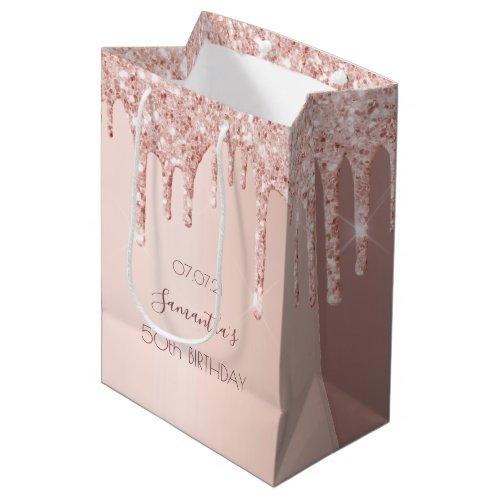 50th birthday 50 rose gold glitter drips name medium gift bag