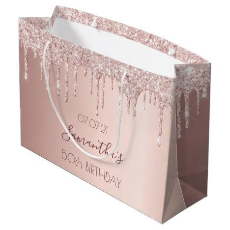 50th birthday 50 rose gold glitter drips pink large gift bag