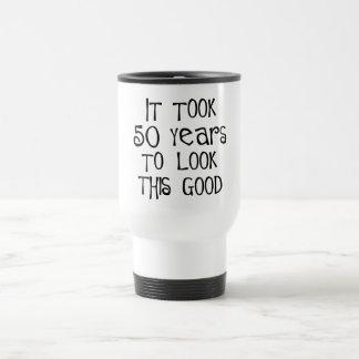 50th birthday, 50 years to look this good! travel mug