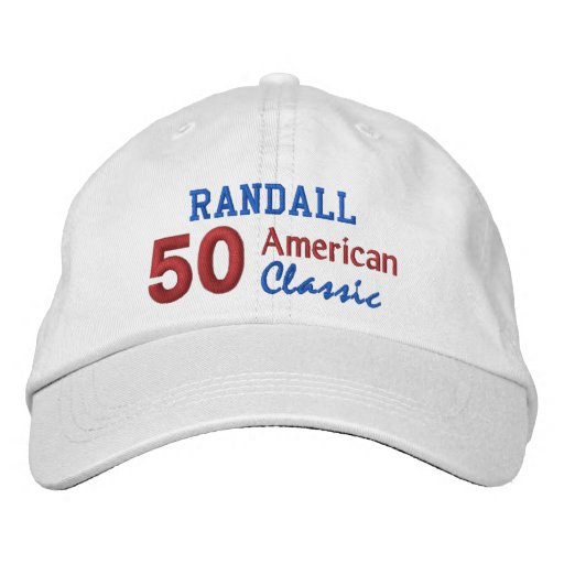 50th Birthday AMERICAN CLASSIC Red White Blue V06 Embroidered Baseball Cap