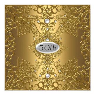50th Birthday  Anniversary Gold PartyJewel 5.25x5.25 Square Paper Invitation Card
