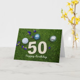 50th birthday anniversary golfer with golf ball card