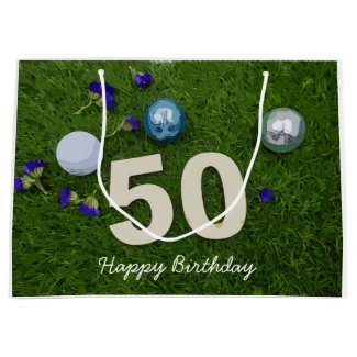 50th birthday anniversary golfer with golf ball large gift bag