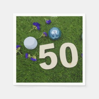 50th birthday anniversary golfer with golf ball napkins