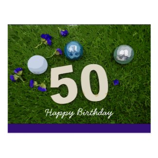 50th birthday anniversary golfer with golf ball postcard