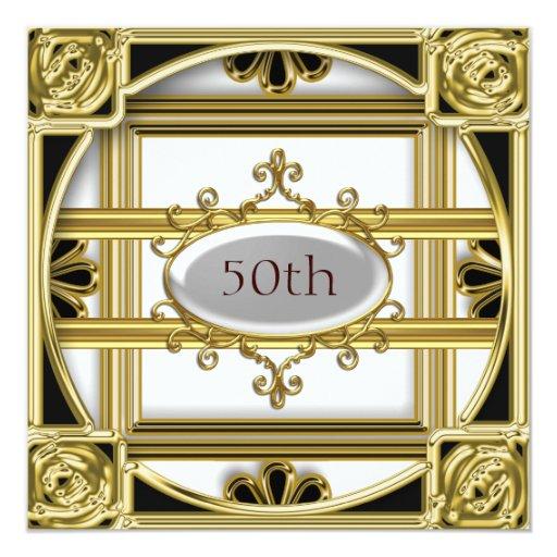 """50th Birthday-Anniversary Invitation 5.25"""" Square Invitation Card"""