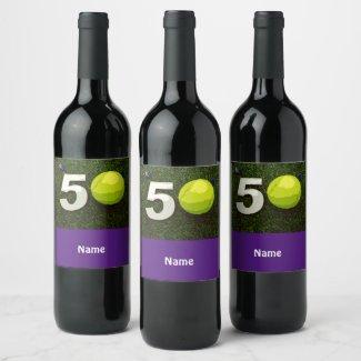 50th birthday anniversary to tennis player wine label