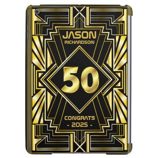 50th Birthday Art Deco Gold Black Great Gatsby Case For iPad Air