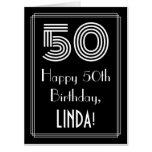 "[ Thumbnail: 50th Birthday — Art Deco Inspired Look ""50"" + Name Card ]"
