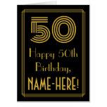 "[ Thumbnail: 50th Birthday: Art Deco Inspired Look ""50"" + Name Card ]"