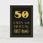 "[ Thumbnail: 50th Birthday – Art Deco Inspired Look ""50"" & Name Card ]"