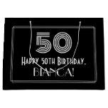 "[ Thumbnail: 50th Birthday — Art Deco Inspired Look ""50"" & Name Gift Bag ]"