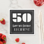 "[ Thumbnail: 50th Birthday: Art Deco Inspired Look ""50"" + Name Napkins ]"