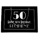"[ Thumbnail: 50th Birthday: Art Deco Inspired Style ""50"", Name Gift Bag ]"