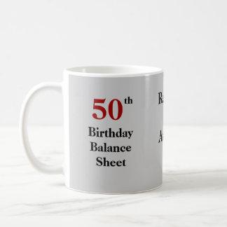 50th Birthday Balance Sheet - triple-sided Coffee Mug