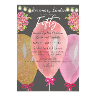 50th Birthday Balloons Flowers and Lights Invite