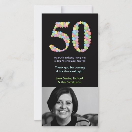 50th Birthday Balloons Thank You Photo Card Zazzle