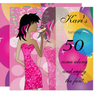 50th Birthday Bash Girl Party | Colorful Card