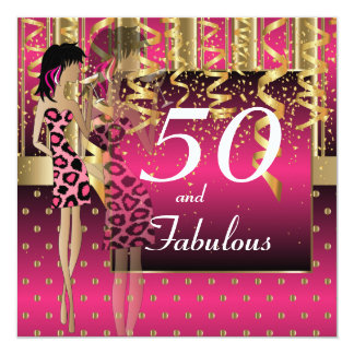 50th Birthday Bash Girl Party   Pink & Gold Card